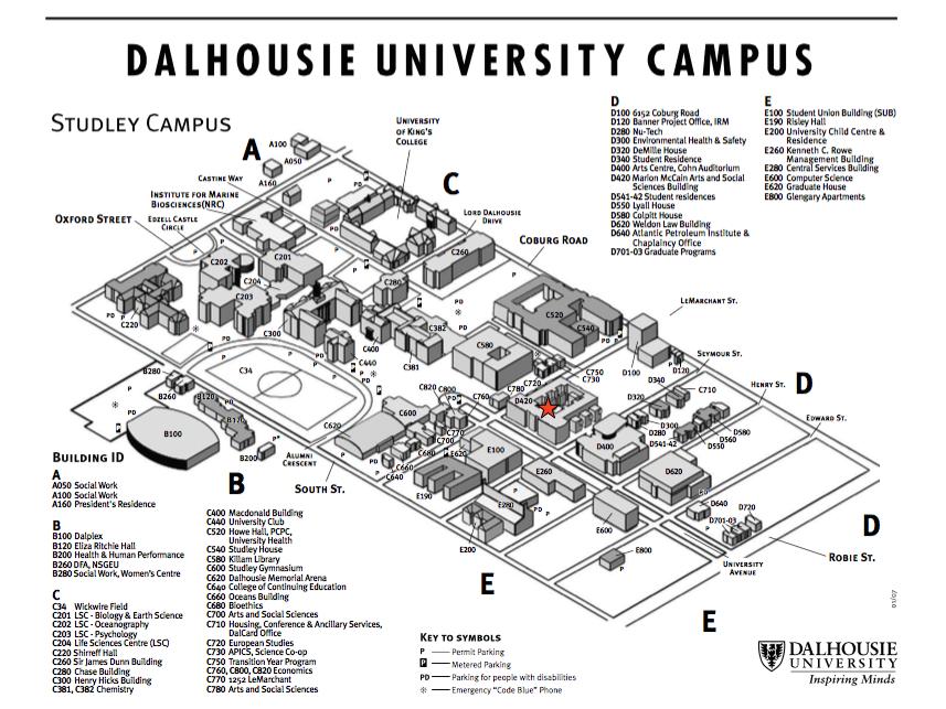 Dalhousie Campus Map Campus Map – SOLIDARIT(I)ÉS: CASCA & SANA Dalhousie Campus Map